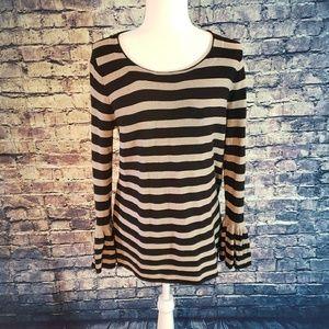 Cyrus Ruffle Sleeve Striped Sweater